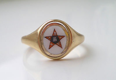 Vintage 9ct Gold Order of the Eastern Star Swivel Signet Ring c1973; UK Size 'P'