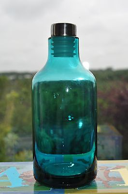 Turq / Green  Glass  Bottle  With S/s Top
