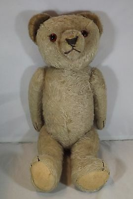 """VINTAGE 1960s 16"""" GERMAN JOINTED MOHAIR TEDDY BEAR WITH GLASS EYES POSS. HERMANN"""