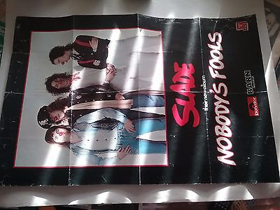 Slade 1976 Nobody's Fool Uk Promo Poster Vg Folded Pinholes Tear Scarce Htf!