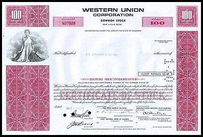 Western Union Corporation 1971 RED 100 Shares Stock Certificate - VF+