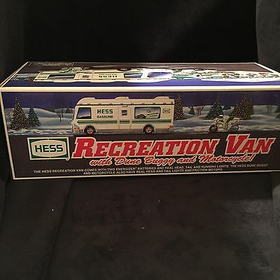 NEW 1998 Hess Recreation Van With Dune Buggy And Motorcycle  MINT