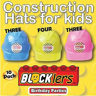 10 X Construction Worker Builder Party Childs Asst Plastic Hat Blocklers