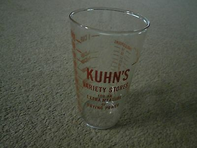 Vintage Kuhn's Variety Stores Measuring Glass Cup  Advertisement NEAT!
