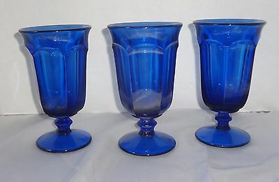Set of 3 Imperial Glass Ohio OLD WILLIAMSBURG DEEP BLUE  Iced Tea Glass Goblets