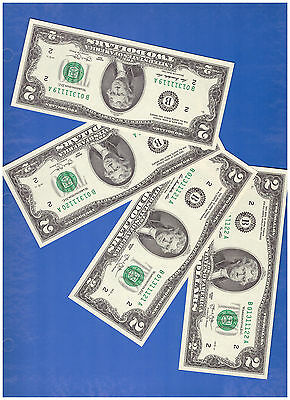 4 NEW CONSECUTIVE Uncirculated 2013 2 DOLLAR FANCY SERIAL NUMBER R495