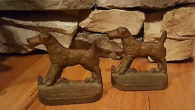 ~ Vintage ~ Airdale Terrier ~ Metal Bookends ~ UNMARKED ~