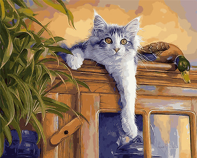 "16X20"" Paint By Number Kit DIY Acrylic Painting on Canvas Cat 1143"