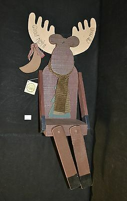 ThriftCHI ~ Crazy Mountain Wooden Wall Shelf Goodnight Mr. Moon Moose