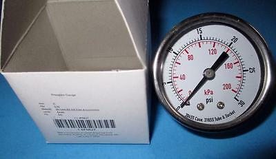 """2"""" Pressure Gauge 0-30 Psi,1/4"""" NPT,Back Connection,Stainless Steel,4FMU7"""