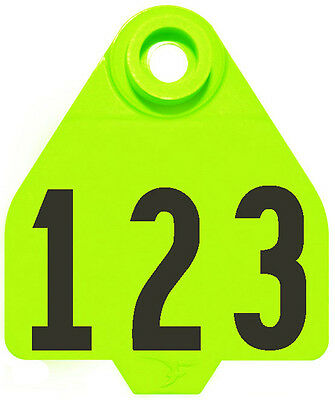1 - 25* Neon Green DuFlex Numbered Medium Cattle ID Ear Tags