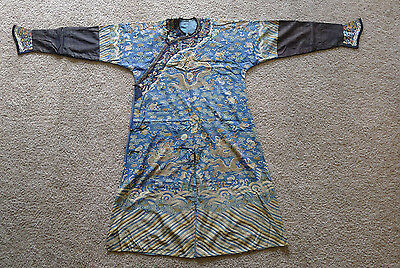 Beautiful and rare old Chinese kesi silk Imperial dragon robe