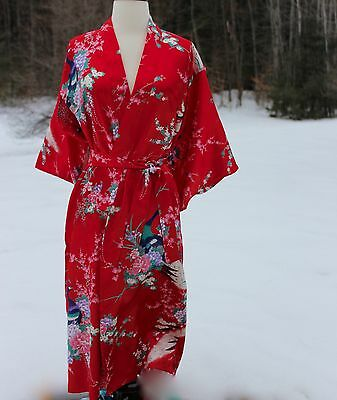 Authentic Japanese Kimono RED Peacock Geisha Costume Robe Juguemm Made In Japan