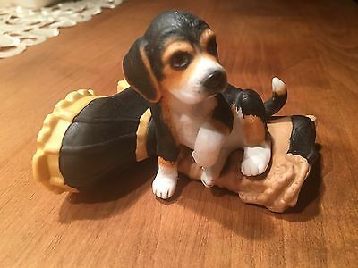 Porcelain Beagle Dog Puppy on Boot Princeton Gallery 1990 Retired Figurine