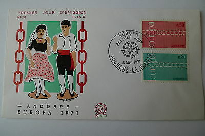 Europa Europe Andorra 1971 Set On Fdc Cover