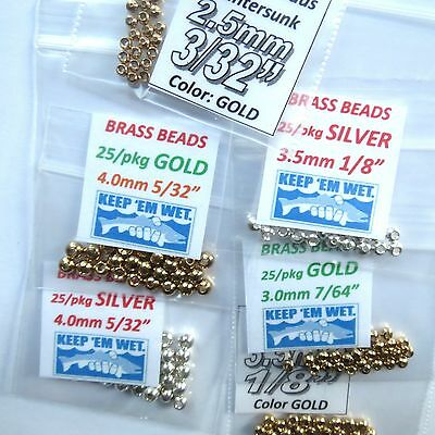 "150  Fly Tying Beads Gold / Silver 3/32"" 7/64"" 1/8"" 5/32"" (Brass) Assortment"