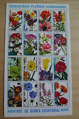 Guinea  16  Different Flower Stamps In A  Souvenir Sheet Used