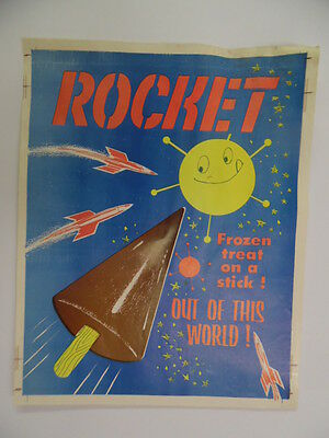 1960 ROCKET Frozen Treat Ice Cream Space Age Advert Poster Drive-In Sign Vintage