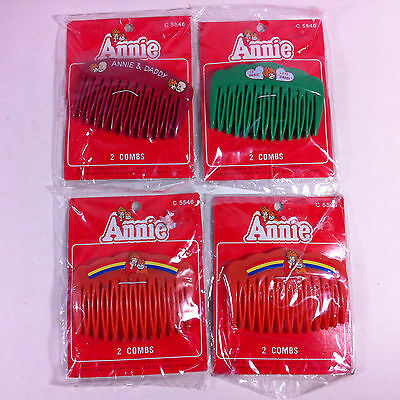 Vintage Lot of 4 Little Orphan Annie 1981 Columbia Pictures 8 Hair Combs