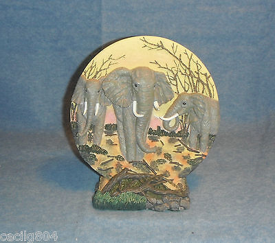 Three Elephants In The African Wilderness Collector Plate