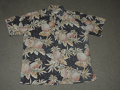 Cooke Street Pineapple Pull Over Hawaiian Shirt Mens Size Large MADE IN USA
