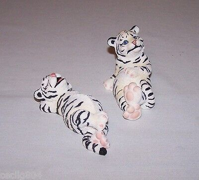 Polyresin Playful White Tiger  Figurines Lot Of 2