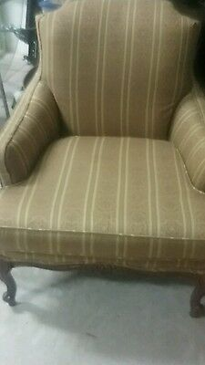 Pair Vintage Carved Bergere Chairs. Newly  Upholstered Silk/Wool Fabric