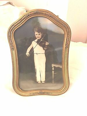 ANTIQUE VINTAGE 1920's WOOD ART DECO PICTURE FRAME WITH GLASS WITH BOY