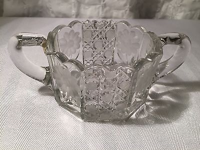 Old Vintage Elegant Clear Glass Open Sugar Bowl w Etched Daisy Flower & Sprigs