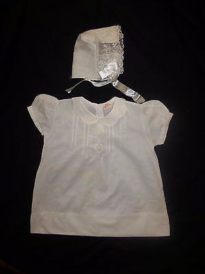 Vintage Shamrock Hanky Bonnet with White Embroidered Delicate Baby Dress Sz 1