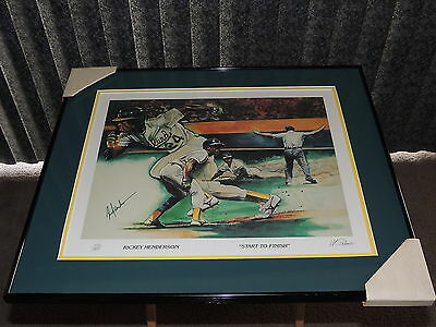 Winford Galmon Rickey Henderson Start To Finish Autographed Lithograph /1000
