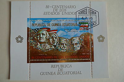 Equatorial Guinea American Presidents  Gold Souvenir Sheet Used
