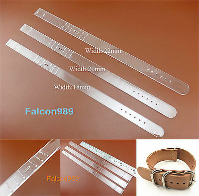 3set Leather Craft Acrylic Watch Strap Band Stencil Template Tool 18/20/22mm NEW