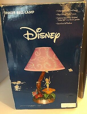 Disney Tinker Bell Lamp Musical Animated Tune Fairy Purple Shade 2004