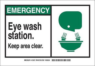 Eye Wash Sign, 5 x 3-1/2 In., Polyester 2PK