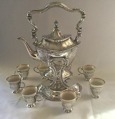 Antique Black Starr & Frost Sterling Silver Tea/Coffee Pot with Stand & Cups Set