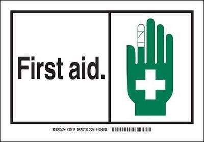 First Aid Sign, 5 x 3-1/2 In., Polyester 2PK