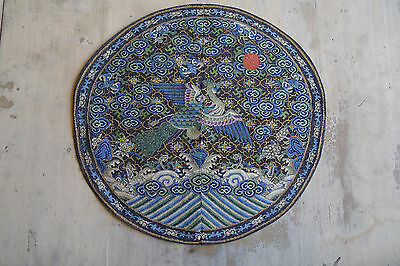 Extremely fine and rare old large Chinese woven silk kesi bird roundel