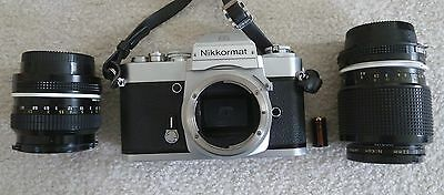 Vintage Nikon Nikkormat 35mm Film Camera Body with 3  lenses and more..