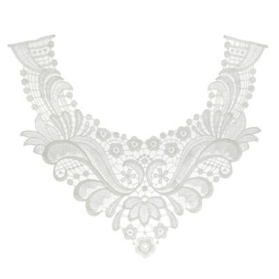 Floral Lace Collar Wedding Motif Applique Fabric Collar Embellishment White