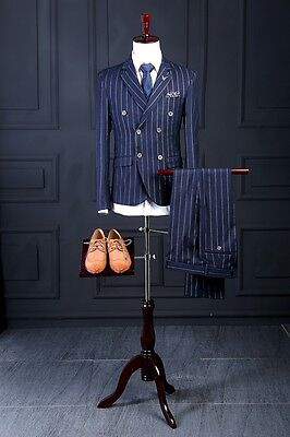 Custom Made Mens Suits Stripe Party Wedding Groom Groomsmen Prom Tuxedos