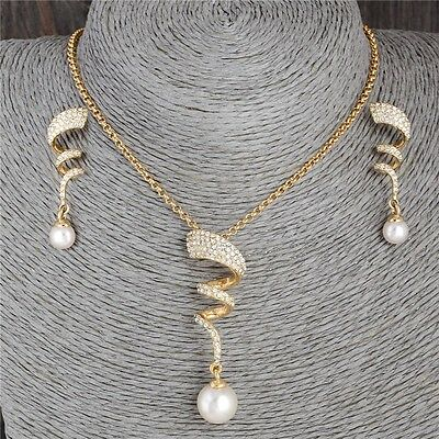 18k gold plated Pearl Women's Jewelry Set Rhinestone Crystal Necklace & Earring.