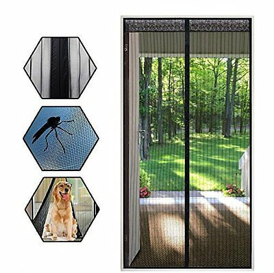 "Magnetic Screen Door Heavy Duty Mesh & Lace Keeps Bugs Out 35.4""x82.6"" Curtain"