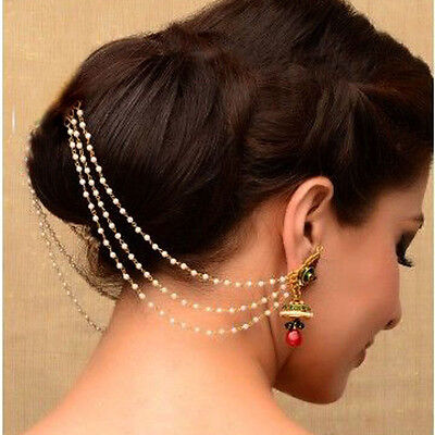 Indian Exclusive Pearl Made Light Sahara Kaan Chain For Heavy earrings Jewellery