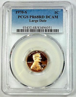 1970-S PCGS PR 68 RD DCAM United States Lincoln Memorial Cent - Large Date