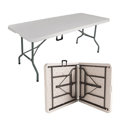 6Ft Heavy Duty Folding Catering Camping Summer Table Trestle Picnic Bbq Party