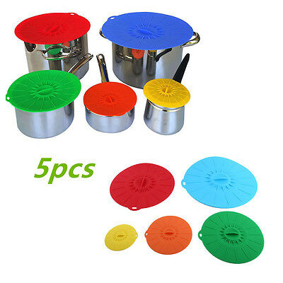 5pcs Silicone Suction Reusable Durable Lids Food Saver Covers Pan Bowl Container
