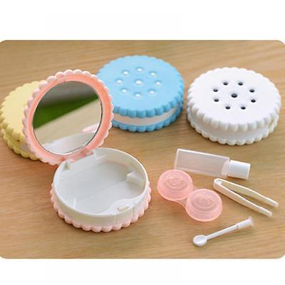 Carry Travel Mirror Case Box Holder Contact Lens Cookies Shape