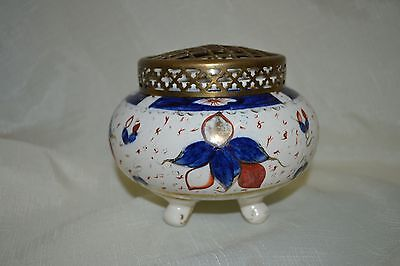 Antique Porcelain and Brass Footed Rose Bowl