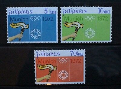 PHILIPPINES 1972 Olympic Games Munich. Set of 3. Mint Never Hinged. SG1272/1274.